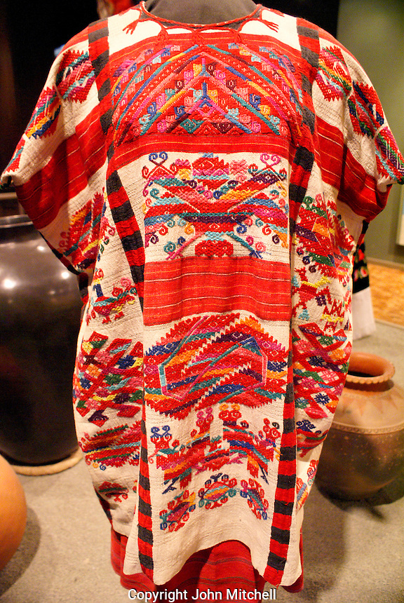 Traditional embroided huipil from Oaxaca, National Museum of Anthropolgy in Chapultepec Park, Mexico City