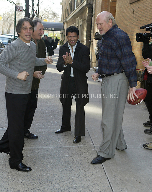 WWW.ACEPIXS.COM ** ** ** ..EXCLUSIVE*** FEE MUST BE NEGOTIATED BEFORE USE!!!....NEW YORK, JANUARY 21, 2005....Tony Danza, Judd Hirsch and Terry Bradshaw take a moment outside the studio to toss around the pigskin.....Please byline: Philip Vaughan -- ACE PICTURES... *** ***  ..Ace Pictures, Inc:  ..Alecsey Boldeskul (646) 267-6913 ..Philip Vaughan (646) 769-0430..e-mail: info@acepixs.com..web: http://www.acepixs.com