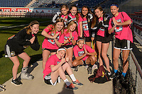 Bridgeview, IL, USA - Saturday, April 23, 2016: Chicago Red Stars ball girls before a regular season National Women's Soccer League match between the Chicago Red Stars and the Western New York Flash at Toyota Park. Chicago won 1-0.