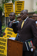 July 19, 2011 (Washington, DC)  Akbar Muhammad (right), the International Representative of Louis Farrakhan and the Nation of Islam, held a press conference in front of the Embassy of Guyana, announcing a $15 million dollar lawsuit against the government of Guyana.  Mr. Muhammad alleges he was falsely detained in Guyana on May 19, 2011, for what he describes as fabricated charges of drug trafficking and terrorism.  He was later released without being formally charged.  Muhammad maintains his innocence, claiming the allegations were fabricated to tarnish his image, character and reputation.  He also sought an apology from the Guyanese government, but Bharrat Jagdeo, President of Guyana, has refused to apologize. (Photo by Don Baxter/Media Images International)