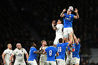 Federico Ruzza of Italy wins the ball at a lineout. Guinness Six Nations match between England and Italy on March 9, 2019 at Twickenham Stadium in London, England. Photo by: Patrick Khachfe / Onside Images