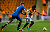 Blackpool's Dolly Menga gets away from Portsmouth's Matthew Clarke<br /> <br /> Photographer Alex Dodd/CameraSport<br /> <br /> The EFL Sky Bet League One - Blackpool v Portsmouth - Saturday 11th November 2017 - Bloomfield Road - Blackpool<br /> <br /> World Copyright &copy; 2017 CameraSport. All rights reserved. 43 Linden Ave. Countesthorpe. Leicester. England. LE8 5PG - Tel: +44 (0) 116 277 4147 - admin@camerasport.com - www.camerasport.com