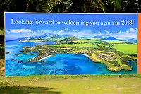 Signage on 9th tee  during the final round of the Afrasia Bank Mauritius Open played at Heritage Golf Club, Domaine Bel Ombre, Mauritius. 03/12/2017.<br /> Picture: Golffile   Phil Inglis<br /> <br /> <br /> All photo usage must carry mandatory copyright credit (&copy; Golffile   Phil Inglis)