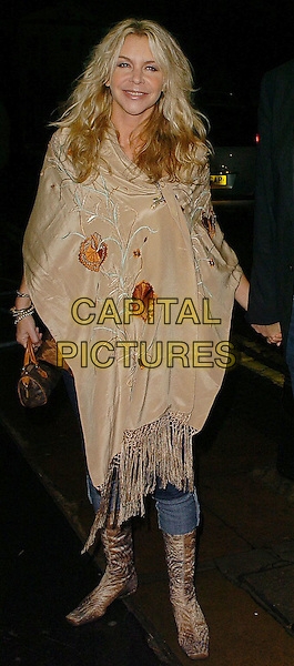 "LESLIE ASH.""The Who: Quadrophenia & Tommy Live"" dvd screening.London, United Kingdom.2nd November 2005.Ref: CAN.full length beige embroidered flower flowery pashmina shawl curls curly wavy tousled hair posed.www.capitalpictures.com.sales@capitalpictures.com.©Can Nguyen/Capital Pictures"