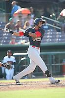 Victor Reyes (5) of the Visalia Rawhide bats against the Inland Empire 66ers at San Manuel Stadium on June 26, 2016 in San Bernardino, California. Inland Empire defeated Visalia, 5-1. (Larry Goren/Four Seam Images)