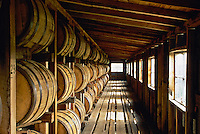 Whiskey barrels in storage, Makers Mark distillery, Loretto, KY.
