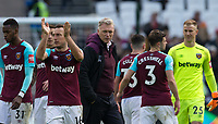 West Ham United Manager David Moyes surrounded by his players at full time  during the EPL - Premier League match between West Ham United and Southampton at the Olympic Park, London, England on 31 March 2018. Photo by Andy Rowland.