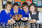 CAKES: Pupils of Scoil Mhuire na mBra?ithre,Clounalour, Tralee who baked cakes at home to sell at their school on Friday to raise funds for thie trip to London. L-r: Tom Healy, Daniel Jonhnson, Morgan Moriarty and Ellen Phelan....