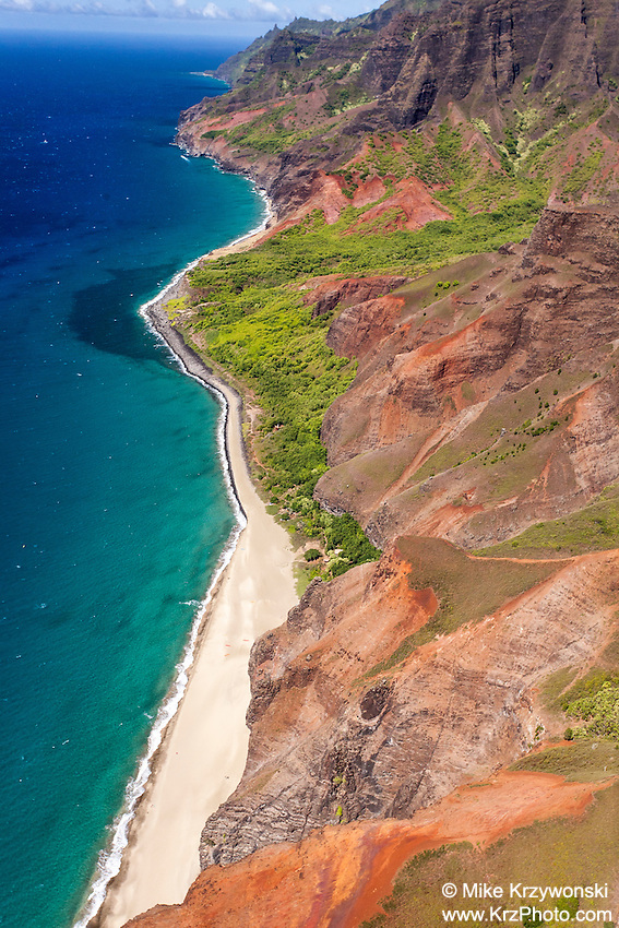 Aerial view of Na Pali coast, Kauai