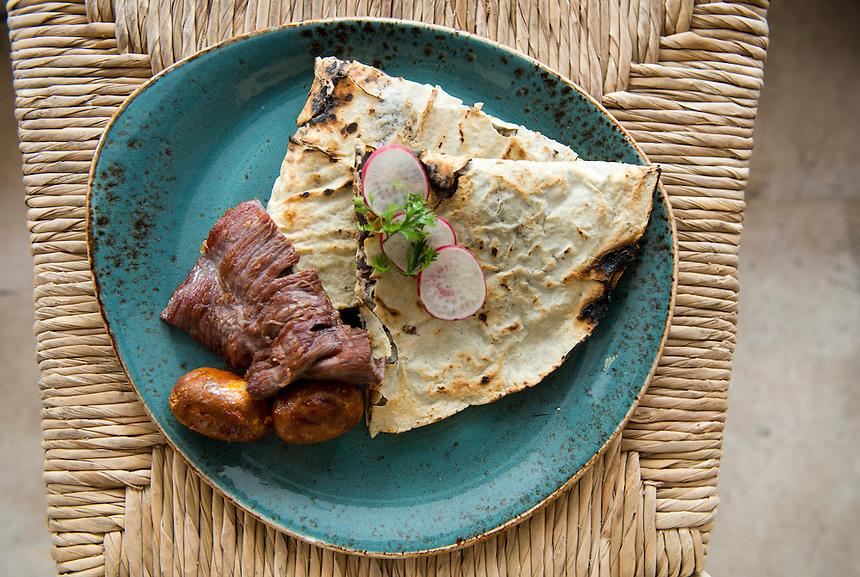 Traditional Oaxacan Tasajo with chorizo. Guzina Oaxaca, Polanco, Mexico DF