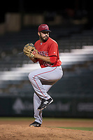 AZL Angels relief pitcher Matt Leon (85) delivers a pitch during an Arizona League game against the AZL Athletics at Tempe Diablo Stadium on June 26, 2018 in Tempe, Arizona. The AZL Athletics defeated the AZL Angels 7-1. (Zachary Lucy/Four Seam Images)