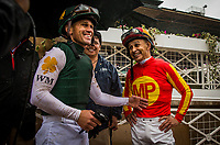 ARCADIA, CA - MARCH 10: Javier Castellano and Mike smith share a moment before the result of the inquiry in the San Felipe Stakes where Bolt d'Oro was awarded the win at Santa Anita Park on March 10, 2018 in Arcadia, California. (Photo by Alex Evers/Eclipse Sportswire/Getty Images)