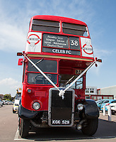 The Red CELEB FC Bus during the 'Greatest Show on Turf' Celebrity Event - Once in a Blue Moon Events at the London Borough of Barking and Dagenham Stadium, London, England on 8 May 2016. Photo by Andy Rowland.