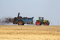 Contractors spreading farm yard manure <br /> &copy;Tim Scrivener Photographer 07850 303986<br />      ....Covering Agriculture In The UK....