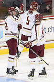 Kevin Hayes (BC - 12), Pat Mullane (BC - 11) - The Boston College Eagles defeated the visiting Merrimack College Warriors 4-3 on Friday, November 16, 2012, at Kelley Rink in Conte Forum in Chestnut Hill, Massachusetts.