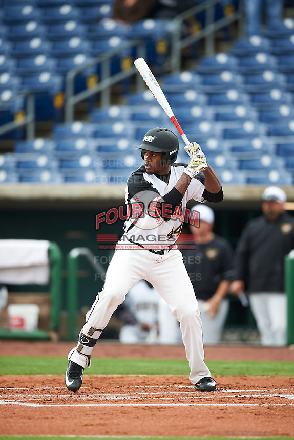 Alabama State Hornets Hunter Phillips (44) at bat during a game against the Ball State Cardinals on February 18, 2017 at Spectrum Field in Clearwater, Florida.  Ball State defeated Alabama State 3-2.  (Mike Janes/Four Seam Images)