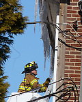 WATERBURY, CT-11 February 2014-0201114BF02- Waterbury Fire Department firefighters worked to contain an apartment fire at a condo complex on Waterville Street Tuesday morning. No injuries to residents or firefighters were reported.  Bob Falcetti Republican-American
