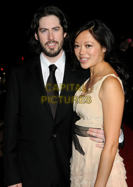 JASON REITMAN & MICHELE LEE .Palm Springs International Film Festival Awards Gala 2010 held at the Palm Springs Convention Center, Palm Springs, California, USA, .5th January 2010..half length black suit tie married husband wife beard facial hair beige dress arm around waist sleeveless .CAP/ADM/BP.©Byron Purvis/AdMedia/Capital Pictures.