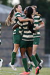31 August 2014: UAB's Kimberly Fincher (12) celebrates her goal with Rachel Green (left) and Sharon Osterbind. The Duke University Blue Devils hosted the University of Alabama Birmingham Blazers at Koskinen Stadium in Durham, North Carolina in a 2014 NCAA Division I Women's Soccer match. Duke won the game 3-1.