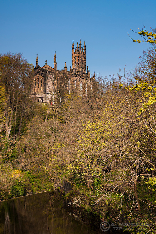 Rear of the Bruntsfield evangelical church as seen from from Dean Village, Edinburgh, Scotland.