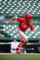 Philadelphia Phillies Jose Cedeno (16) runs to first base during a Florida Instructional League game against the Baltimore Orioles on October 4, 2018 at Ed Smith Stadium in Sarasota, Florida.  (Mike Janes/Four Seam Images)