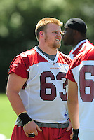 Jun 9, 2008; Tempe, AZ, USA; Arizona Cardinals center (63) Lyle Sendlein during mini camp at the Cardinals practice facility. Mandatory Credit: Mark J. Rebilas-