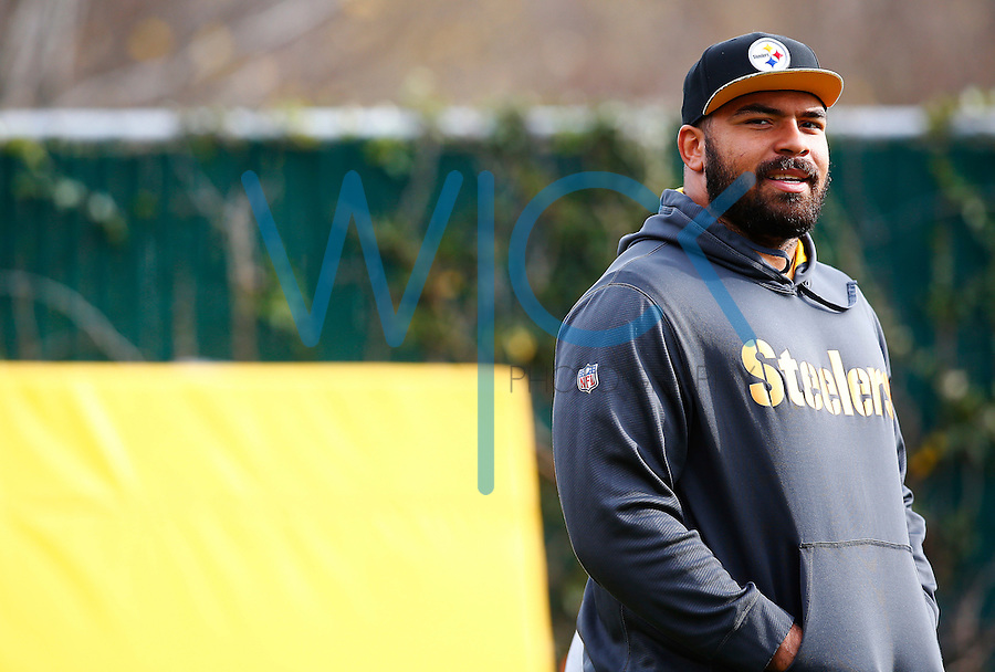 Cameron Heyward #97 of the Pittsburgh Steelers practices at the south side practice facility on November 18, 2015 in Pittsburgh, PA.