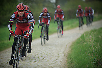 Paris-Roubaix 2012 recon..Thor Hushovd leading the way