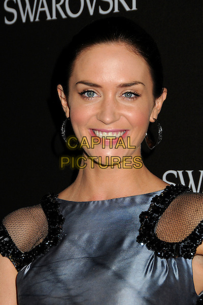 EMILY BLUNT.Attending the 12th Annual Costume Designers Guild Awards held at the Beverly Hilton Hotel.  .Beverly Hills, California, USA,  .25th February 2010 .arrivals portrait headshot hair up blue grey gray silver jewelled embellished mesh shoulders insert smiling .CAP/ADM/BP.©Byron Purvis/AdMedia/Capital Pictures.