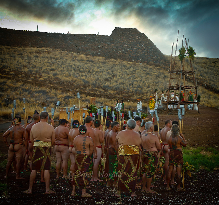 Annual traditional Native Hawaiian ceremony at Pu'ukohola, Hawaii. A gathering of native hawaiians celebrating rights of passage.