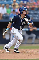 Asheville Tourists center fielder Sam Hilliard (25) swings at a pitch during a game against the Hagerstown Suns at McCormick Field on September 5, 2016 in Asheville, North Carolina. The Suns defeated the Tourists 9-5. (Tony Farlow/Four Seam Images)