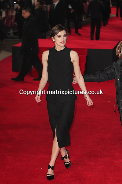 NON EXCLUSIVE PICTURE: MATRIXPICTURES.CO.UK<br /> PLEASE CREDIT ALL USES<br /> <br /> WORLD RIGHTS<br /> <br /> English actress Keira Knightley attending the premiere of Jack Ryan: Shadow Recruit, at Vue Cinema in Leicester Square, London.  <br /> <br /> JANUARY 20th 2014<br /> <br /> REF: GBH 14317