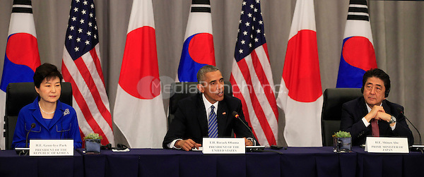 United States President Barack Obama and Vice President Joseph Biden attend a  trilateral meeting with President Park Geun-Hye of the Republic of Korea and Prime Minister Shinzo Abe of Japan at the Nuclear Security Summit in Washington, DC on March 31, 2016.<br /> Credit: Dennis Brack / Pool via CNP/MediaPunch