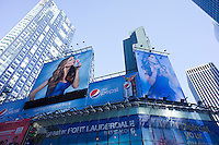 Billboards for Diet Pepsi featuring the actress Sofia Vergara, are seen above traffic on Broadway in Times Square in New York on Sunday, February 26, 2012. (© Richard B. Levine)