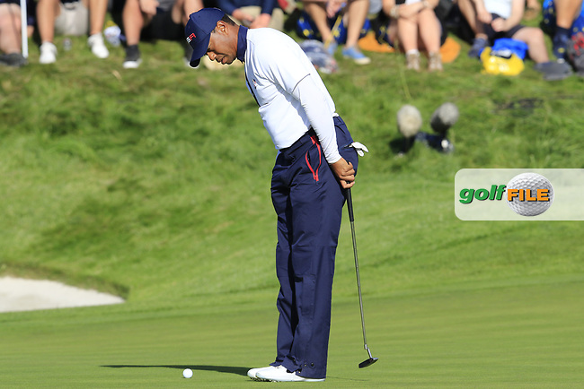 Tiger Woods (Team USA) on the 11th green during Saturday's Foursomes Matches at the 2018 Ryder Cup 2018, Le Golf National, Ile-de-France, France. 29/09/2018.<br /> Picture Eoin Clarke / Golffile.ie<br /> <br /> All photo usage must carry mandatory copyright credit (© Golffile | Eoin Clarke)
