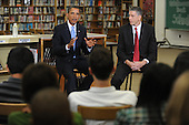 Arlington, VA - September 8, 2009 -- United States President Barack Obama (back L) and US Education Secretary Arne Duncan (back R) host a group discussion with students at Wakefield High School in Arlington, Virginia, USA, 08 September 2009.  President Obama attends the event to encourage students to study hard and take responsibility for their own education on the first day of the school year for many children across America.  .Credit: Michael Reynolds - Pool via CNP
