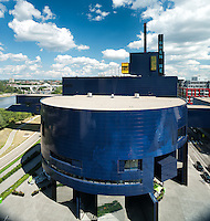 Unique architectural facade of the Guthrie theatre designed by Jean Nouvel, on a blue sky summer day in Minneapolis, Minnesota. Photography by Minneapolis architectural photographer James Michael Kruger.