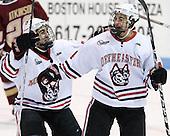 Cody Ferriero (Northeastern - 79), Braden Pimm (Northeastern - 14) - The Northeastern University Huskies defeated the visiting Boston College Eagles 2-1 on Saturday, February 19, 2011, at Matthews Arena in Boston, Massachusetts.