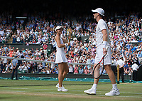 Top seeds Jamie Murray (GBR) with partner Martina Hingis (SUI) celebrate their victory against Ken Skupski (GBR) and Jocelyn Rae (GBR),  6-4, 6-4<br /> <br /> Photographer Ashley Western/CameraSport<br /> <br /> Wimbledon Lawn Tennis Championships - Day 10 - Thursday 13th July 2017 -  All England Lawn Tennis and Croquet Club - Wimbledon - London - England<br /> <br /> World Copyright &not;&copy; 2017 CameraSport. All rights reserved. 43 Linden Ave. Countesthorpe. Leicester. England. LE8 5PG - Tel: +44 (0) 116 277 4147 - admin@camerasport.com - www.camerasport.com