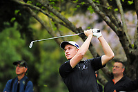Nic Voke (NZ) plays an approach shot to the 12th on day one of the 2017 Asia-Pacific Amateur Championship day one at Royal Wellington Golf Club in Wellington, New Zealand on Thursday, 26 October 2017. Photo: Dave Lintott / lintottphoto.co.nz