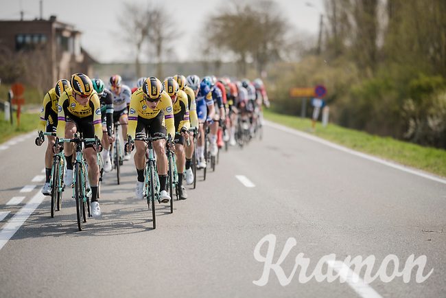 Biggest delegation in the front group is Team Jumbo-Visma; all there in support of team leader Wout Van Aert (BEL/Jumbo-Visma)<br /> <br /> 81st Gent-Wevelgem 'in Flanders Fields' 2019<br /> One day race (1.UWT) from Deinze to Wevelgem (BEL/251km)<br /> <br /> ©kramon