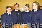 The Debating team at Pobailscoil Inbhear Sceine  .L-R Katie Harrington, Rachael Hawker,  Laura Duncan and Saidbh Moriary who debated against Ardscoil Phobal Bheanntrai? in the first round of the Concern Debating competition