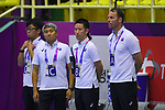 -R) €  /Junichiro Iida,   Kenji Kitabayashi,   Manabu Todoroki, € Dagur Sigurdsson (JPN), <br /> AUGUST 17, 2018 - Handball : Men's Preliminary Round match between <br /> Korea 26-26 Japan at GOR Popki Cibubur during the 2018 Jakarta Palembang Asian Games in Jakarta, Indonesia. <br /> (Photo by MATSUO.K/AFLO SPORT)