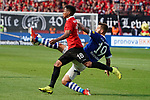 11.05.2019, BayArena, Leverkusen, GER, 1. FBL, Bayer 04 Leverkusen vs. FC Schalke 04 ,<br />  <br /> DFL regulations prohibit any use of photographs as image sequences and/or quasi-video<br /> <br /> im Bild / picture shows: <br /> Wendell (Leverkusen #18), im Zweikampf gegen  Guido Burgstaller (FC Schalke #19),  <br /> <br /> Foto &copy; nordphoto / Meuter