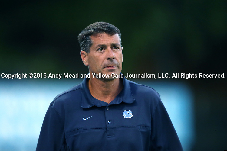 16 September 2016: UNC head coach Carlos Somoano. The University of North Carolina Tar Heels hosted the University of Pittsburgh Panthers in Chapel Hill, North Carolina in a 2016 NCAA Division I Men's Soccer match. UNC won the game 1-0.
