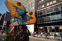 (950422-SWR03.jpg)- 22 April 1995 - NEW YORK, NY - Earth Day Parade of the Planets. Environmental activists with kites parade up Avenue of the Americas.