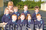 Boys and girls pictured on their first day at Knockanure School on Monday front l-r Darragh Reidy, Thomas Goulding, Emmet McAuliffe, and Patrick Brosnan.  Back l-r Paddy McElligott, Breda Kiely (teacher), Rachel Greaney, Katie Keane, and J J O'Sullivan..   Copyright Kerry's Eye 2008