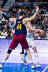 Real Madrid's player Sergio Rodriguez and Barcelona's player Tomic during Liga Endesa 2015/2016 Finals 4th leg match at Barclaycard Center in Madrid. June 20, 2016. (ALTERPHOTOS/BorjaB.Hojas)