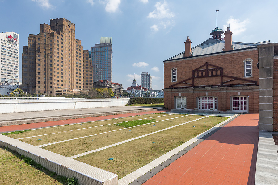 Shanghai Rowing Club Building. Rear View Showing The Outline Of The Swimming Pool, Once Shanghai's Best. And Note The Pool's Starting Plinths And Framework Mount For The Roof.<br />