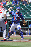 Iowa Cubs catcher David Freitas (38) throws to first base during the Pacific Coast League game against the Memphis Redbirds at Principal Park on June 7, 2016 in Des Moines, Iowa.  Iowa won 6-5.  (Dennis Hubbard/Four Seam Images)